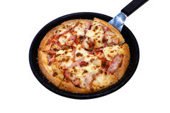 Bacon and Ham Cheese Pizza. Stock Photo