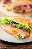 Bacon and ham sandwich with french fries Stock Photo