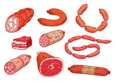 Bacon, ham and various of sausages sketch icons Stock Image