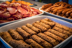 Bacon,hash brown and veggie sausages Stock Photography