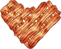 Bacon Heart. Bacon strips arranged into a heart shape Royalty Free Stock Image