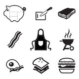 Bacon Icons. This image is a illustration and can be scaled to any size without loss of resolution stock illustration
