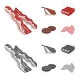 Bacon jamon, grisköttstöd, stekte kotletter Fastställda samlingssymboler för kött i tecknade filmen, monokromt materiel för stilv Fotografering för Bildbyråer