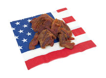 Bacon jerky on napkin Royalty Free Stock Photography