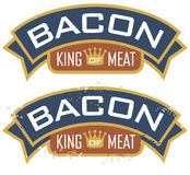 "Bacon, King of Meat. Bacon emblem featuring the words, ""King of Meat"". Includes clean and grunge versions Royalty Free Stock Photos"