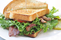 Bacon Lettuce and tomato sandwich Royalty Free Stock Image