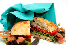 Bacon Lettuce And Tomato Sandwich And Napkin Royalty Free Stock Photo