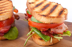 Bacon, lettuce and tomato sandwiches Stock Images