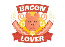Bacon lover illustrated vector badge. With a pig and bacon Stock Photography