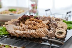 Bacon Meat Ready to Eat. Wedding Table with Snacks and Appetizer. Royalty Free Stock Photography