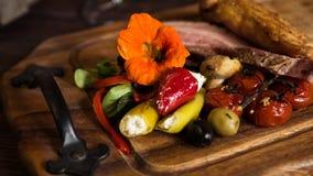 Bacon met groenten Stock Afbeelding