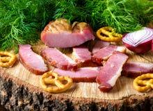 Bacon met ui en kruiden Royalty-vrije Stock Afbeelding