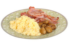 Bacon Mushrooms and Scrambled Eggs Breakfast Stock Image