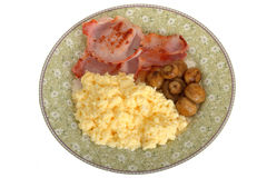 Bacon Mushrooms and Scrambled Eggs Breakfast Royalty Free Stock Photos
