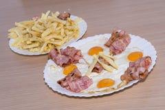 Bacon och ägg Arkivfoto