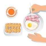 Bacon, ovo, cookies e produtos alimentares e itens de menu alaranjados de Juice Set Of Classic Breakfast ilustração royalty free