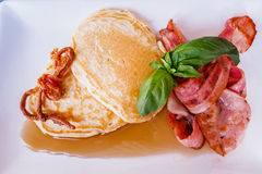 Bacon Pancakes with Maple Syrup Royalty Free Stock Photos