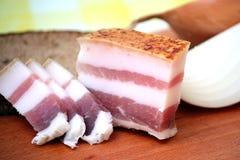 Bacon, pane, cipolla. immagine stock libera da diritti