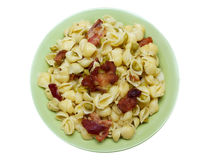 Bacon pea pasta shells Royalty Free Stock Photos