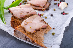 Bacon with pepper honey crust Stock Images