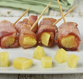 Bacon And Pineapple Appetizer Stock Images