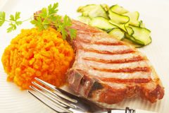 Bacon Pork Chop Carrots Zucchini Royalty Free Stock Photo