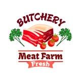 Bacon or pork meat label for butcher shop design Royalty Free Stock Image