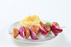 Bacon and potato skewer with mashed potato Royalty Free Stock Photo