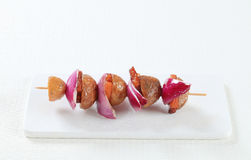 Bacon and potato skewer Royalty Free Stock Images