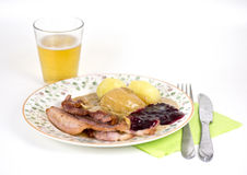 Bacon with potatoes and gravy Royalty Free Stock Images