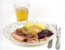 Bacon with potatoes and gravy Stock Images