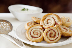 Bacon and puff pastry appetizers Stock Photo