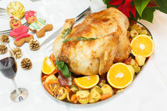 Bacon Roasted Turkey on festive table Royalty Free Stock Photos