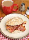 Bacon Roll & Tea Stock Photography
