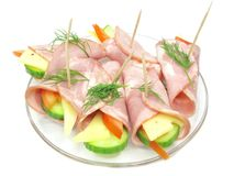 Bacon rools with cheese and vegetables Stock Photography