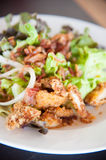 Bacon salad with deep fried chicken Royalty Free Stock Photos