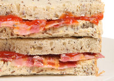Bacon Sandwich. With wholewheat bread and tomato ketchup Royalty Free Stock Image