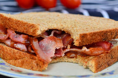 Bacon sandwich with brown sauce Stock Images