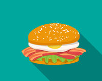 Bacon sandwich with egg in flat style Stock Photos