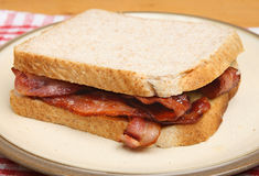 Bacon Sandwich on Plate Royalty Free Stock Photography