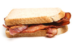 Bacon Sandwich with Sliced Bread Isolated Royalty Free Stock Photos