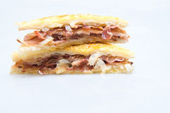 Bacon sandwich with white bread Royalty Free Stock Photos