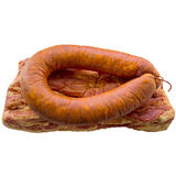 Bacon and sausage. Meat  sausage  pork  butcher  variety  salami  food beef  delicious  smoked Royalty Free Stock Photo