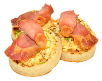 Bacon And Scrambled Eggs On Crumpets Royalty Free Stock Photo