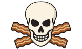 Bacon Skull. Vector Illustration of skull with crossed bacon Royalty Free Stock Photo