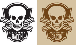 Bacon Skull 2. Vector Illustration of skull with crossed bacon and the slogan Death By Bacon Royalty Free Stock Images