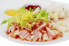 Bacon, sliced​​, garlic, mustard Stock Photo