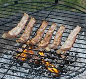 Bacon grilling on a Fire. Bacon slices grilling on a Fire royalty free stock photography