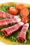 Bacon snack. With vegetables on a plate- portrait Stock Photography