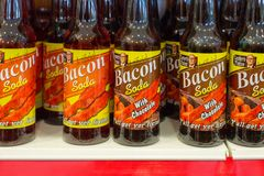 Bacon Soda on shelf. Bacon Soda with chocolate on shelf Royalty Free Stock Image